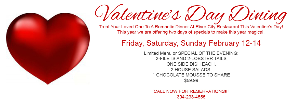 river city restaurant banquets valentines day food specials